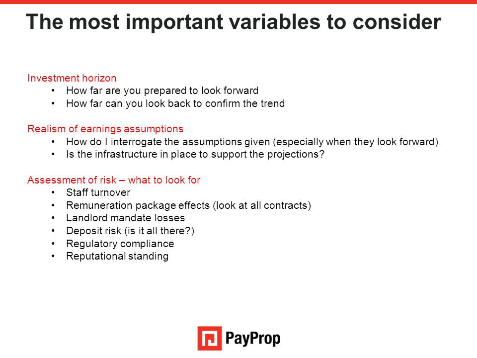 The most important variables to consider