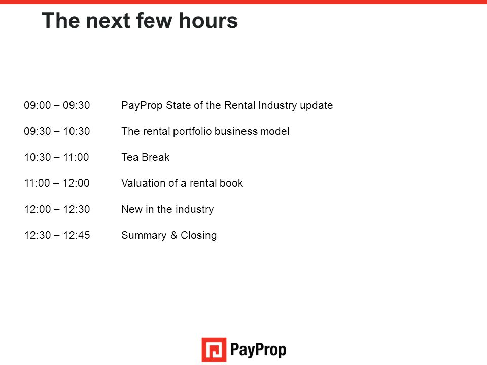 The next few hours 09:00 – 09:30 PayProp State of the Rental Industry update. 09:30 – 10:30 The rental portfolio business model.
