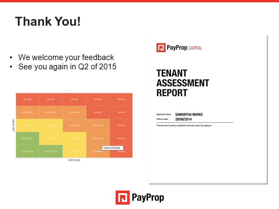 Thank You! We welcome your feedback See you again in Q2 of 2015