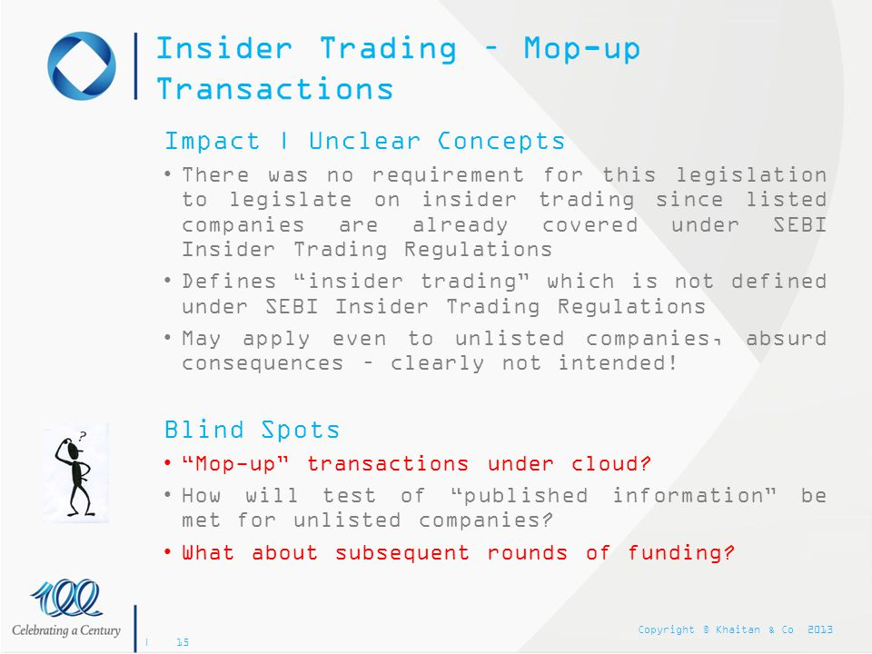 Insider Trading – Mop-up Transactions