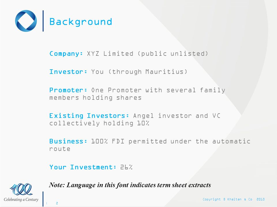 Background Company: XYZ Limited (public unlisted)