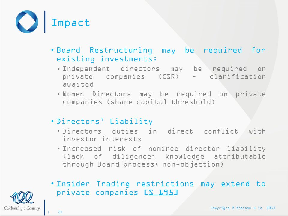 Impact Board Restructuring may be required for existing investments: