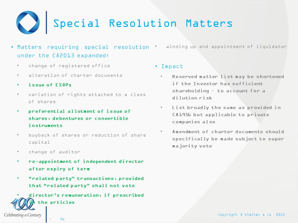 Special Resolution Matters