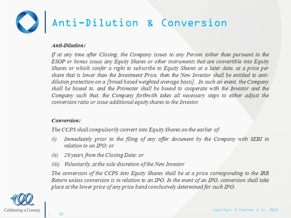 Anti-Dilution & Conversion