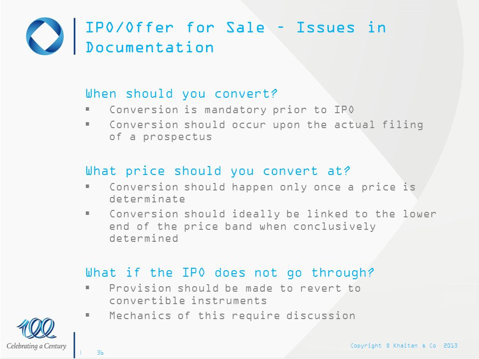 IPO/Offer for Sale – Issues in Documentation