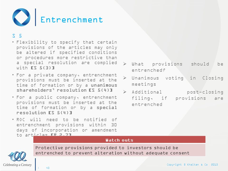 Entrenchment S 5 What provisions should be entrenched