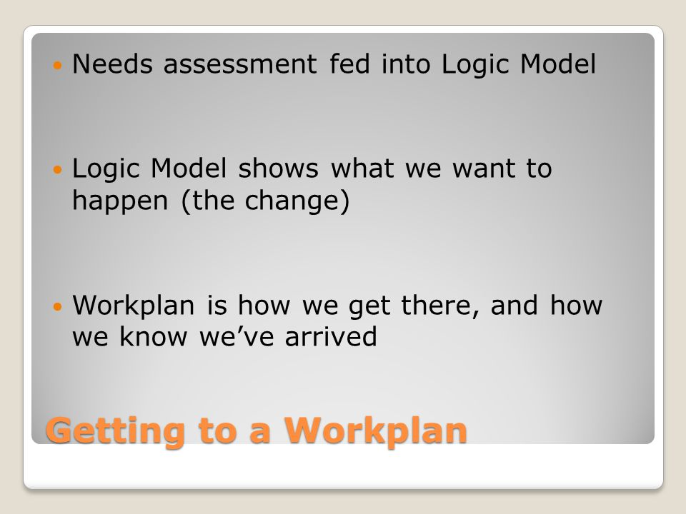Getting to a Workplan Needs assessment fed into Logic Model
