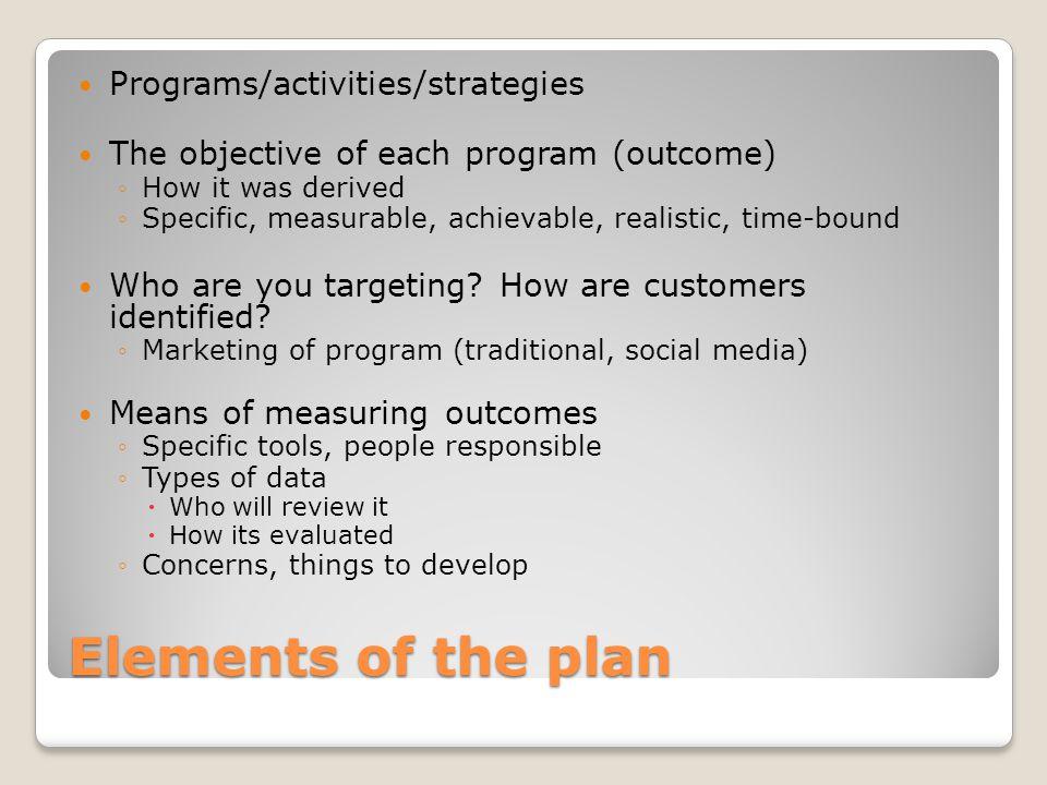 Elements of the plan Programs/activities/strategies