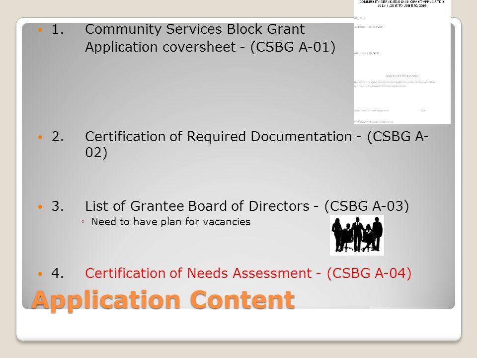 Application Content 1. Community Services Block Grant