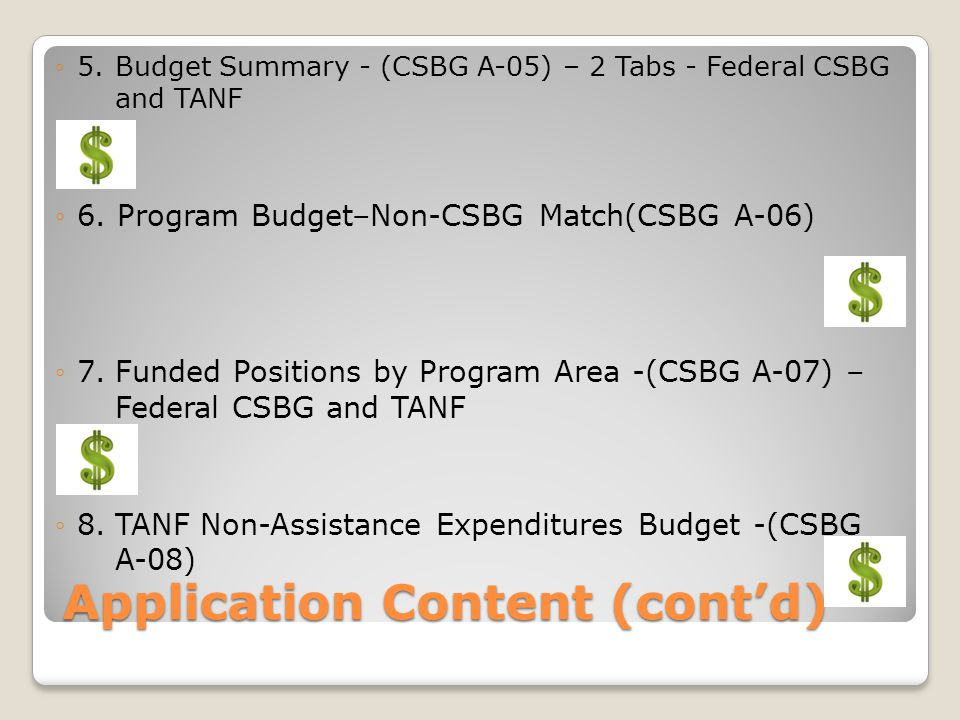Application Content (cont'd)