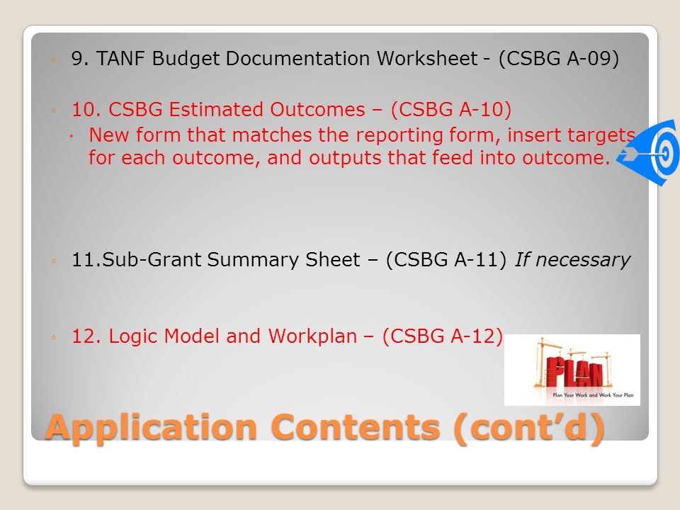 Application Contents (cont'd)