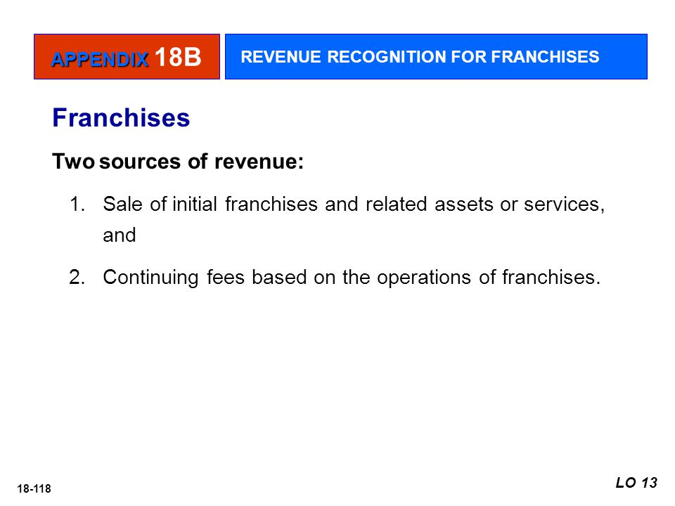Franchises Two sources of revenue: