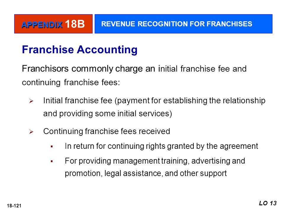 APPENDIX 18B REVENUE RECOGNITION FOR FRANCHISES. Franchise Accounting.