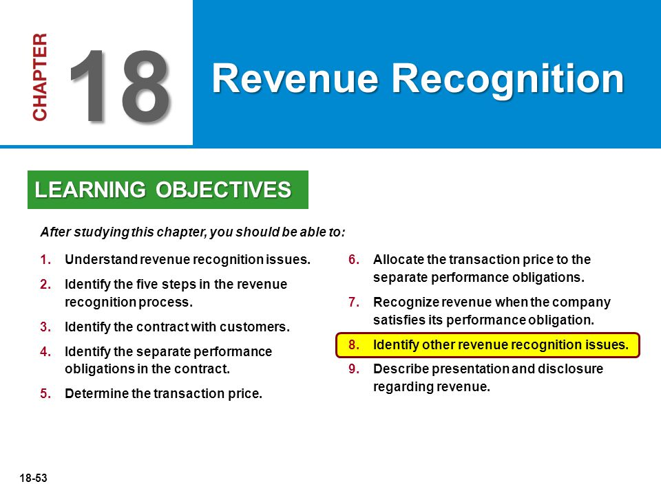 18 Revenue Recognition LEARNING OBJECTIVES