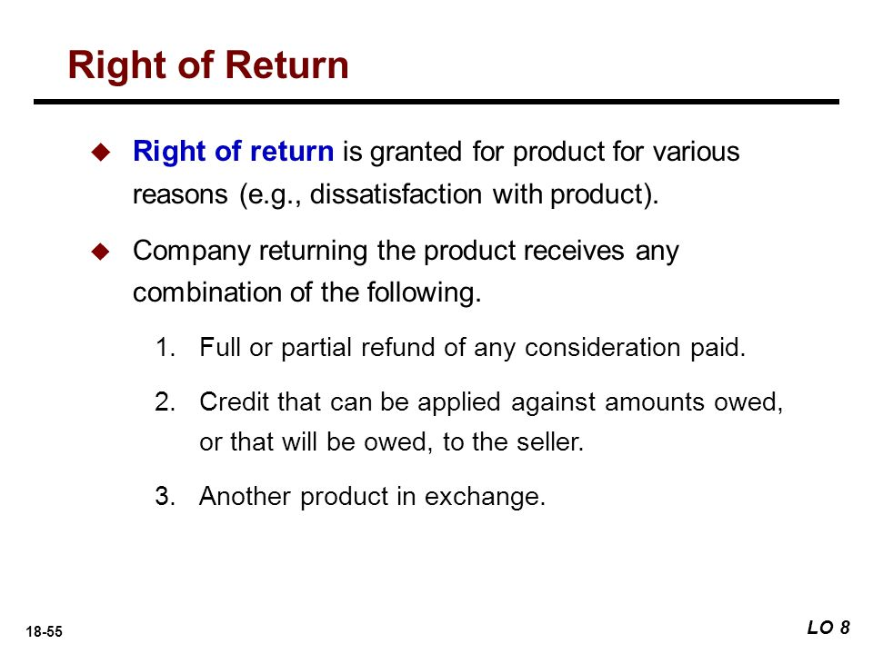 Right of Return Right of return is granted for product for various reasons (e.g., dissatisfaction with product).