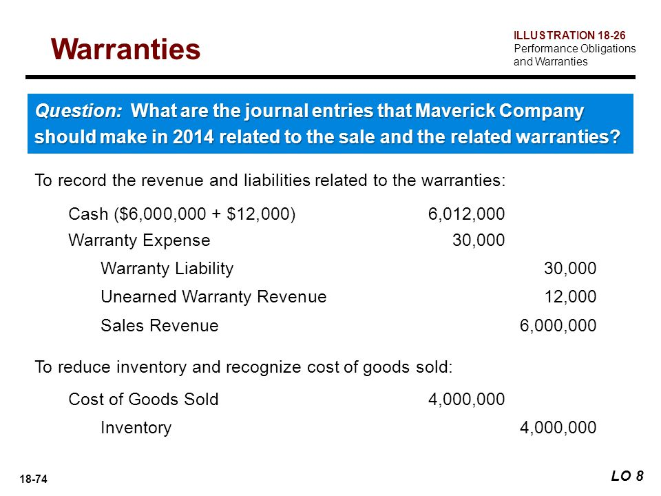 Warranties ILLUSTRATION 18-26. Performance Obligations and Warranties.