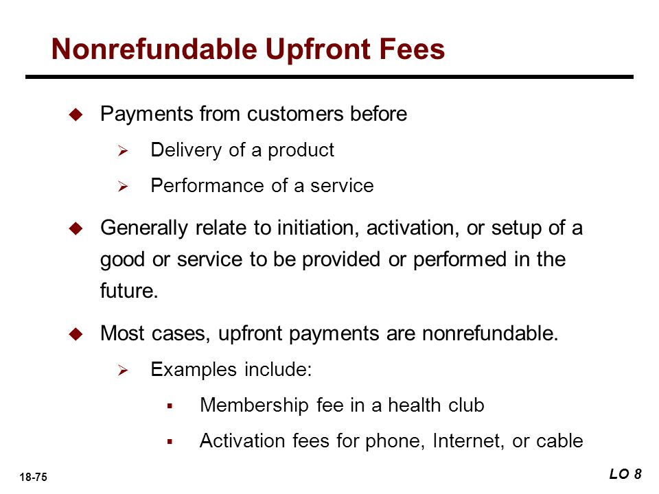 Nonrefundable Upfront Fees