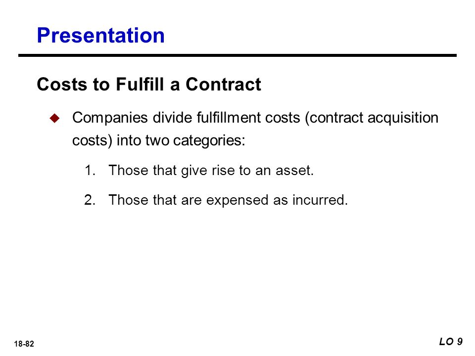 Presentation Costs to Fulfill a Contract