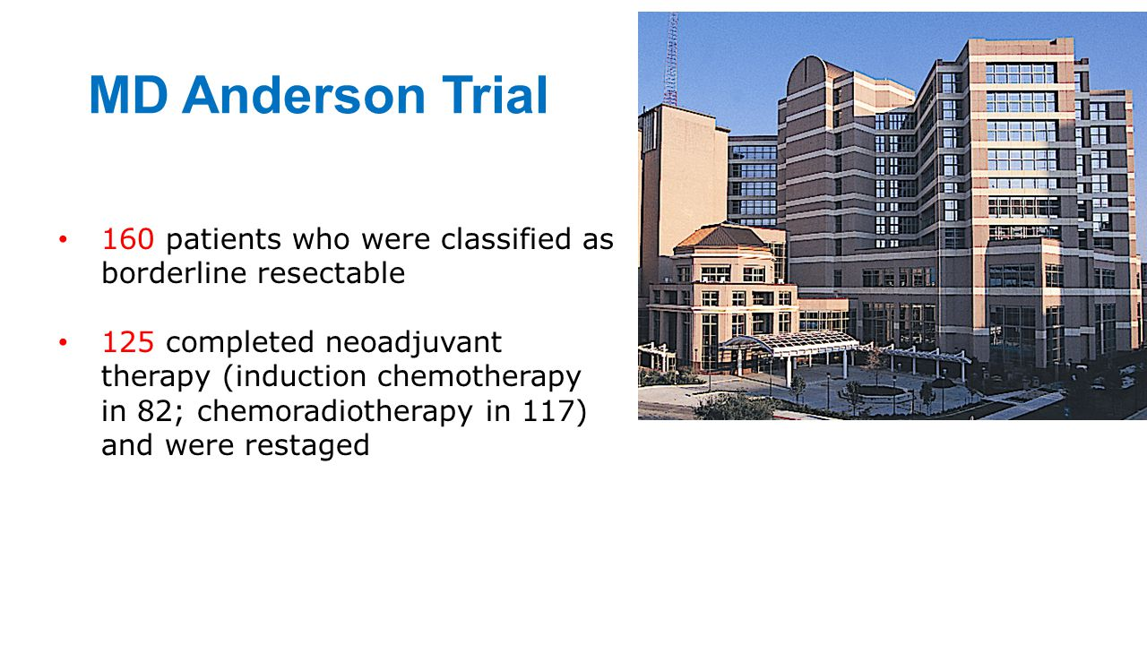 MD Anderson Trial 160 patients who were classified as borderline resectable.