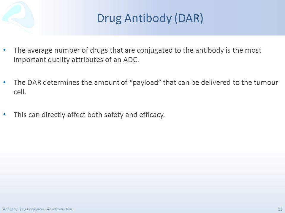 Drug Antibody (DAR) The average number of drugs that are conjugated to the antibody is the most important quality attributes of an ADC.