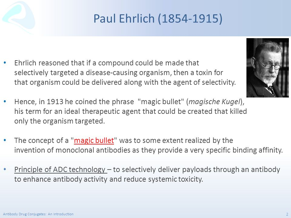 Paul Ehrlich (1854-1915) Ehrlich reasoned that if a compound could be made that. selectively targeted a disease-causing organism, then a toxin for.
