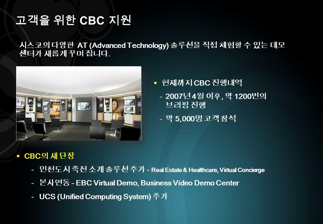 고객을 위한 CBC 지원 시스코의 다양한 AT (Advanced Technology) 솔루션을 직접 체험할 수 있는 데모 센터가 새롭게 꾸며 집니다. 현재까지 CBC 진행내역.