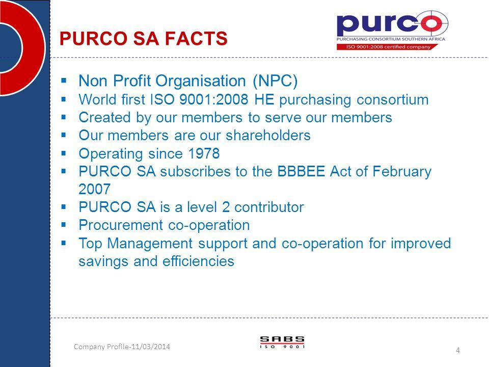 PURCO SA FACTS Non Profit Organisation (NPC)