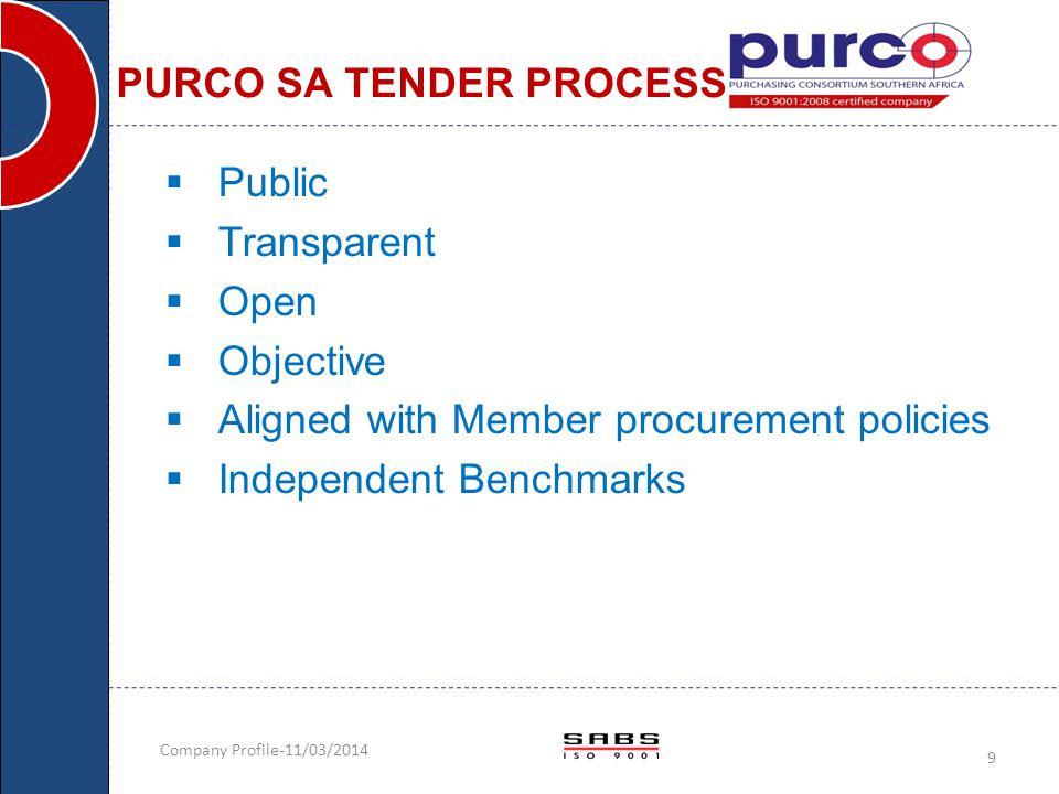 PURCO SA TENDER PROCESS