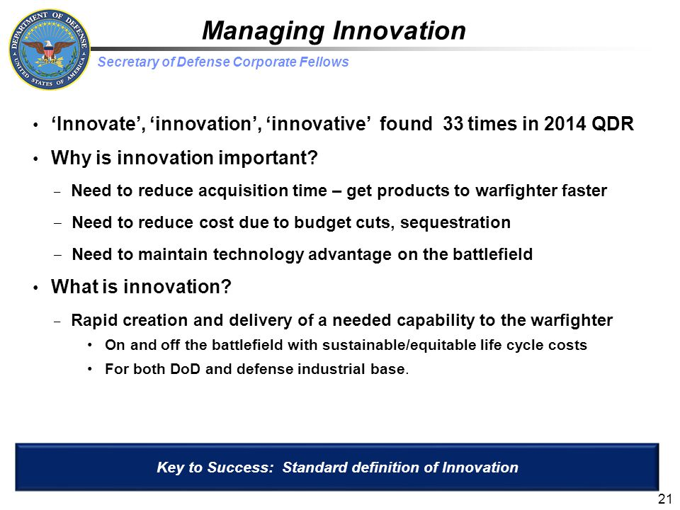 Key to Success: Standard definition of Innovation
