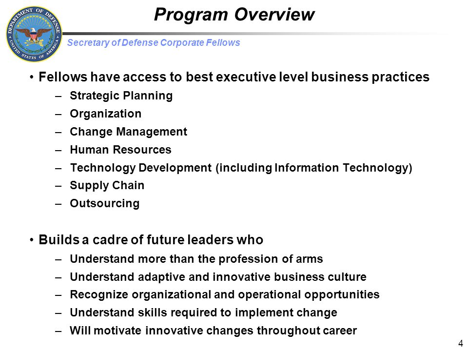 Program Overview Fellows have access to best executive level business practices. Strategic Planning.