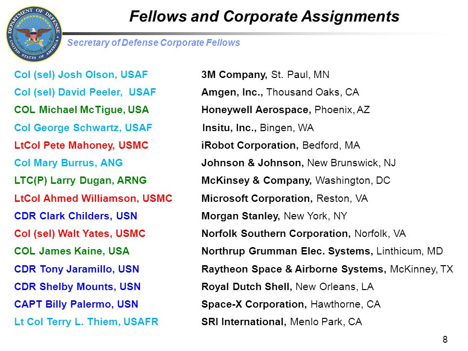 Fellows and Corporate Assignments