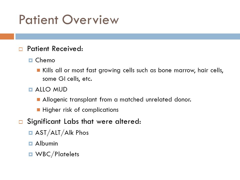 Patient Overview Patient Received: Significant Labs that were altered: