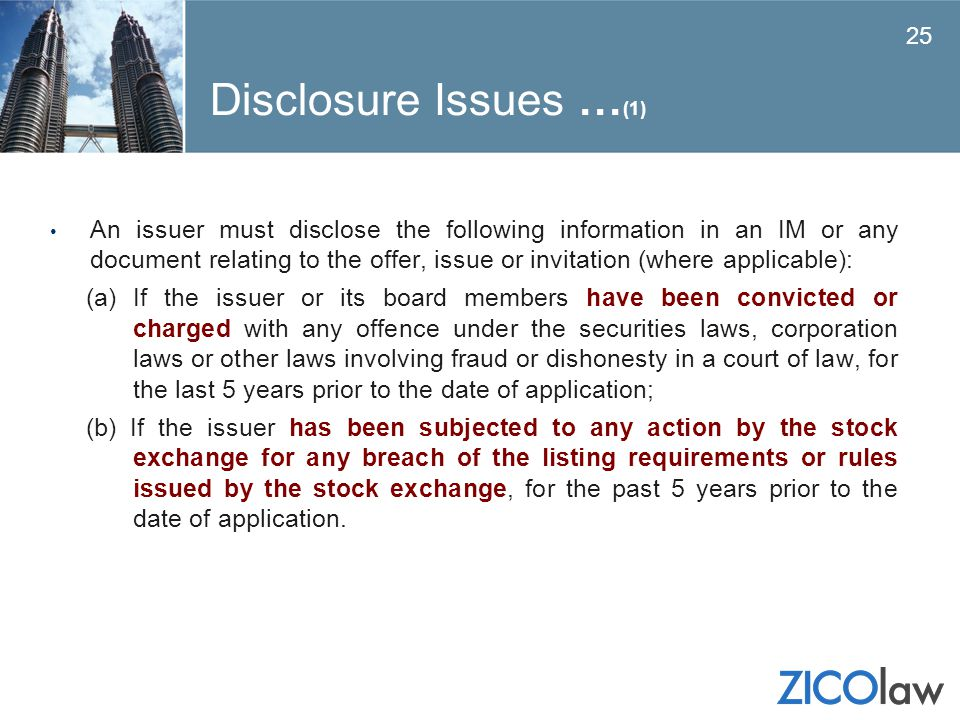 Disclosure Issues …(1)
