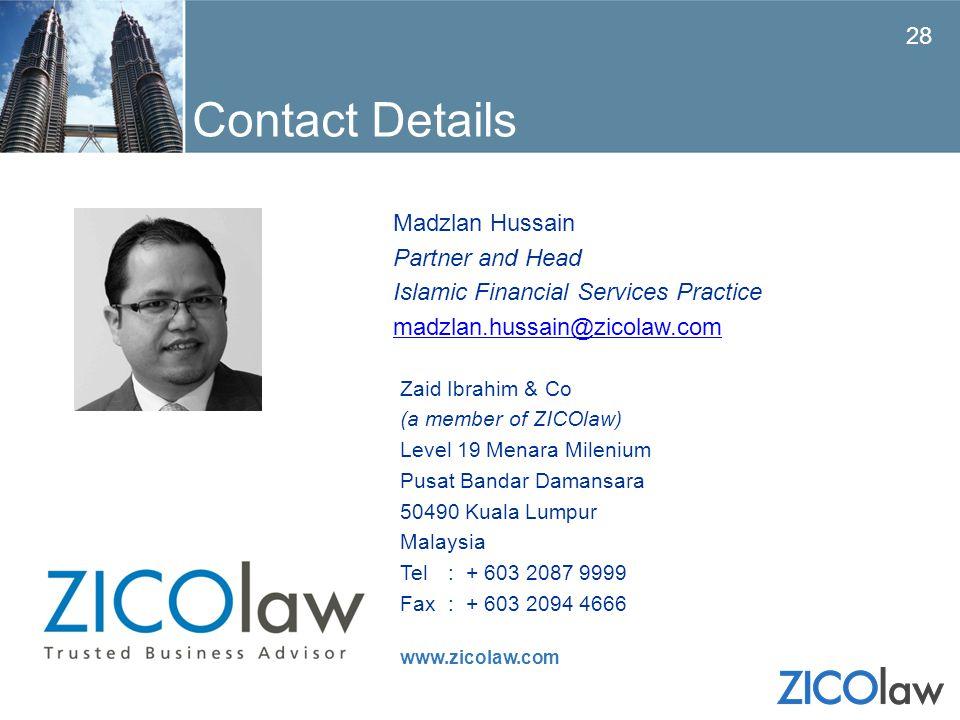 Contact Details Madzlan Hussain Partner and Head