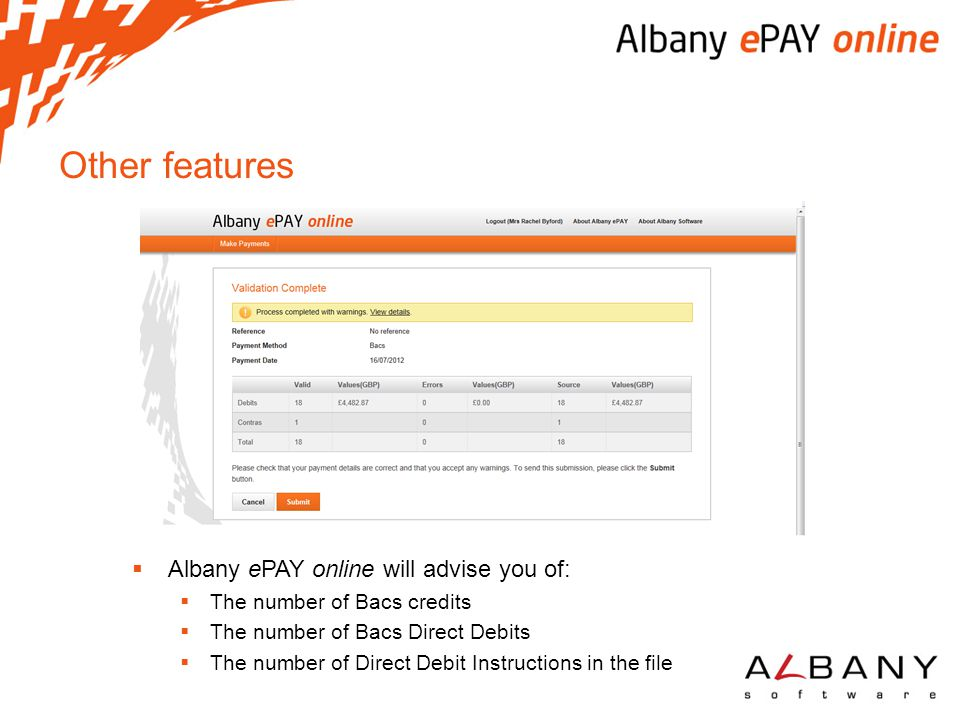 Other features Albany ePAY online will advise you of: