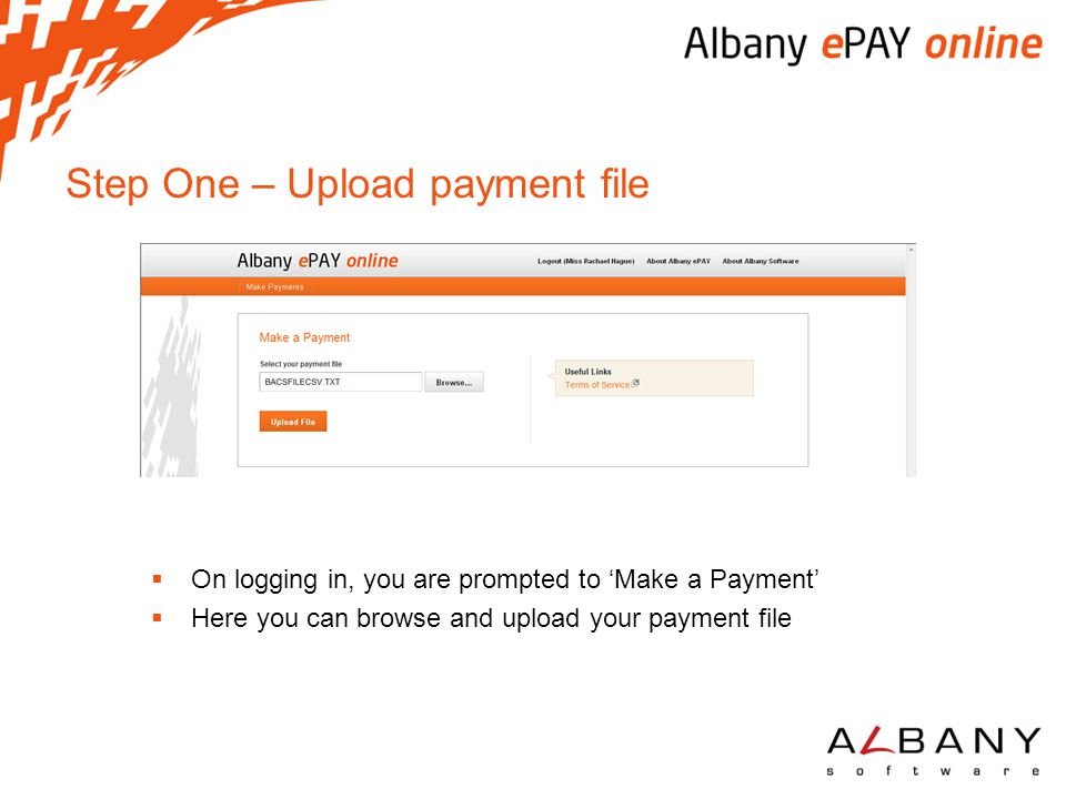 Step One – Upload payment file