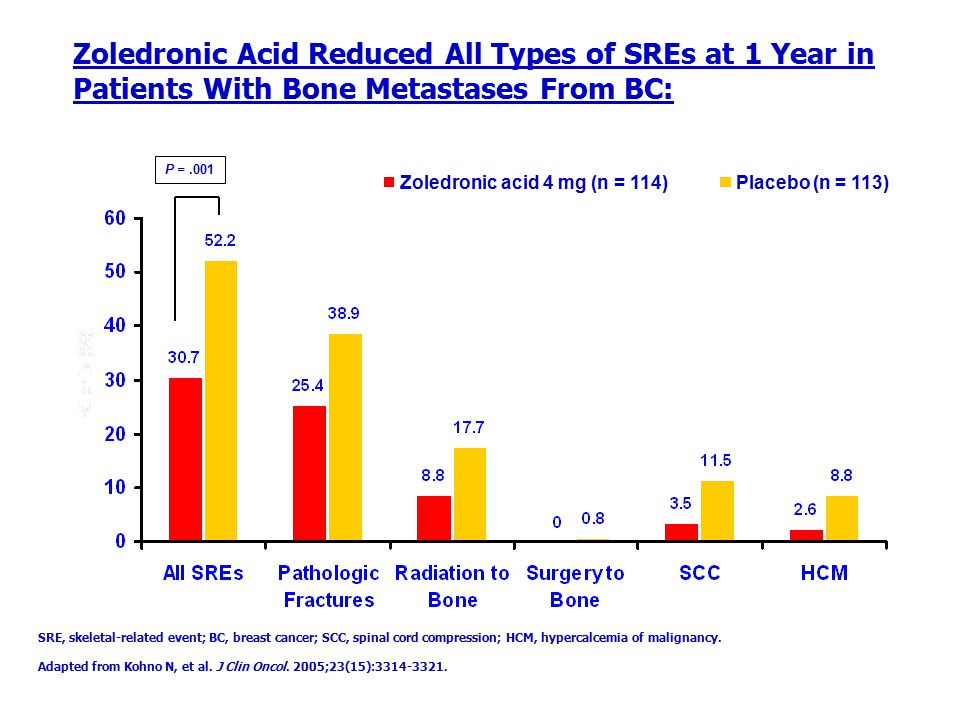Zoledronic Acid Reduced All Types of SREs at 1 Year in Patients With Bone Metastases From BC:
