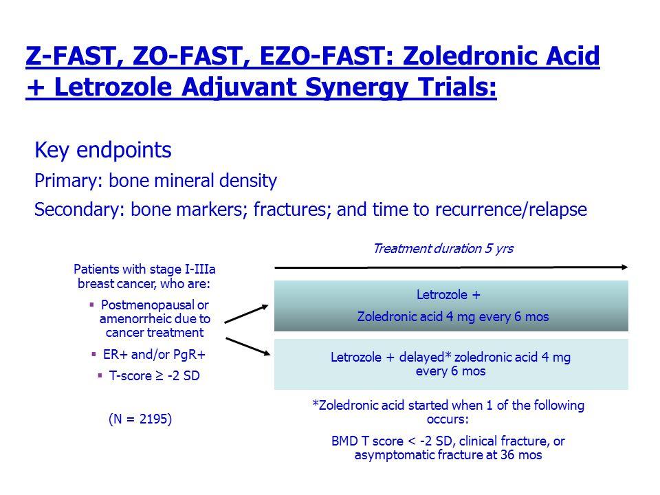 Z-FAST, ZO-FAST, EZO-FAST: Zoledronic Acid + Letrozole Adjuvant Synergy Trials: