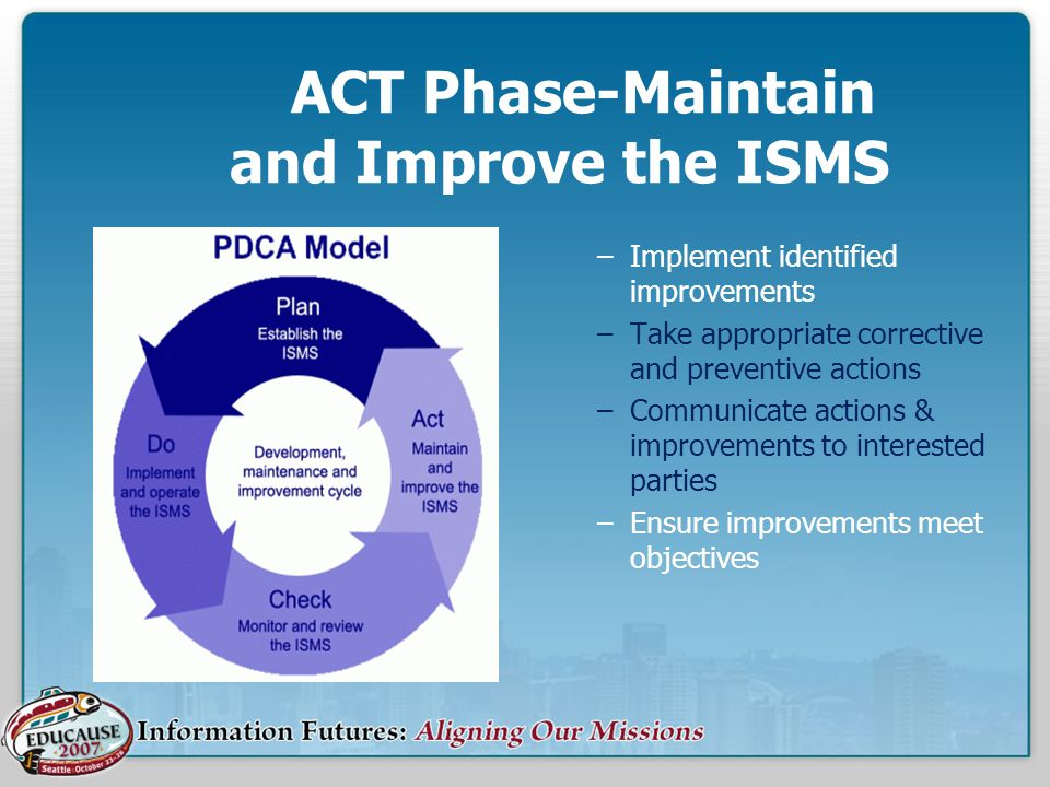 ACT Phase-Maintain and Improve the ISMS