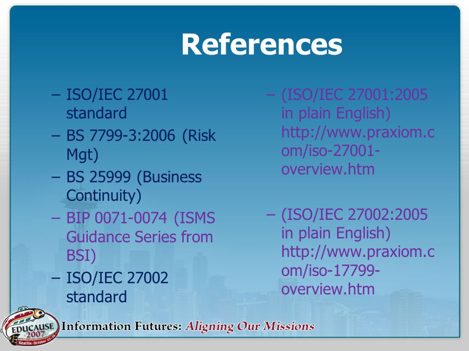 References ISO/IEC 27001 standard BS 7799-3:2006 (Risk Mgt)