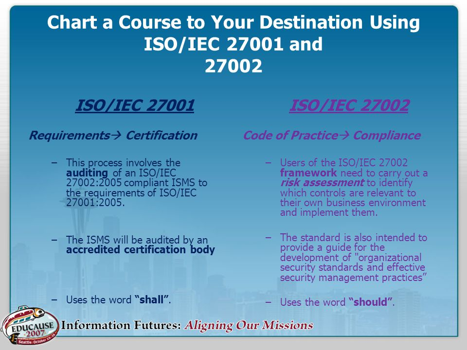 Chart a Course to Your Destination Using ISO/IEC 27001 and 27002