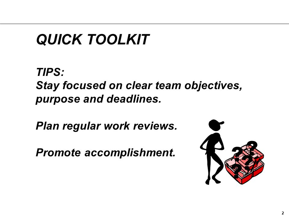 QUICK TOOLKIT TIPS: Stay focused on clear team objectives, purpose and deadlines. Plan regular work reviews. Promote accomplishment.