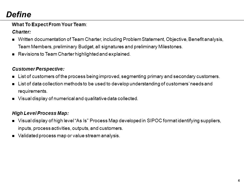 Define What To Expect From Your Team: Charter: