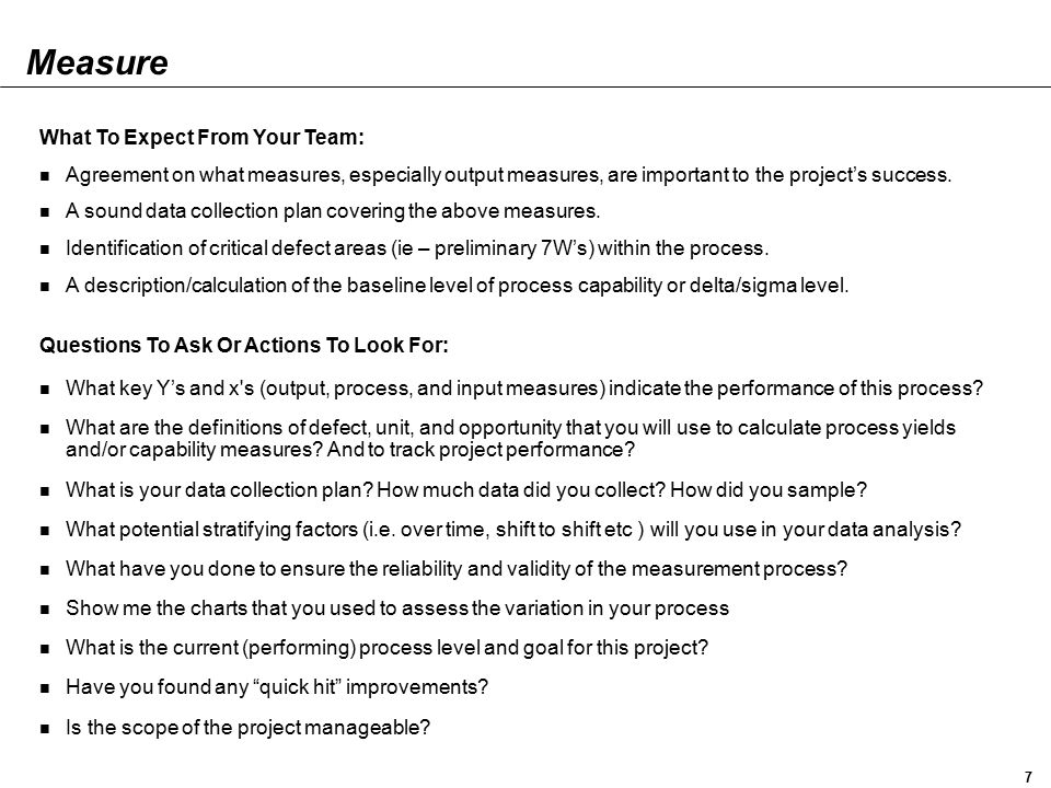 Measure What To Expect From Your Team: