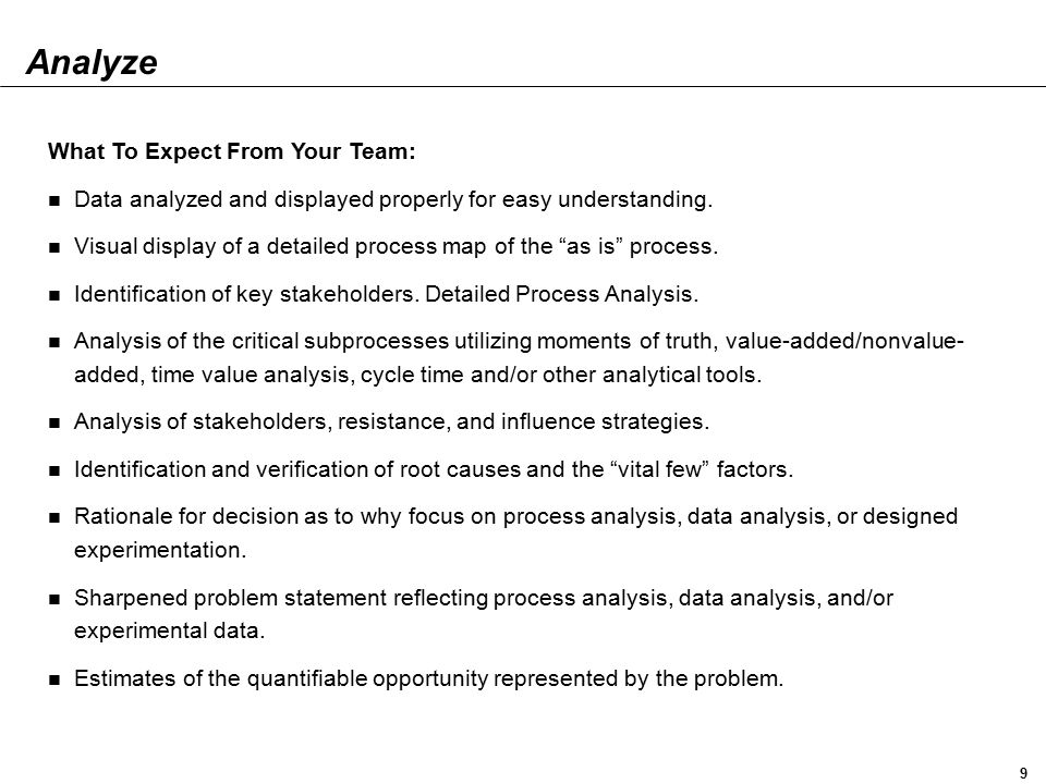 Analyze What To Expect From Your Team: