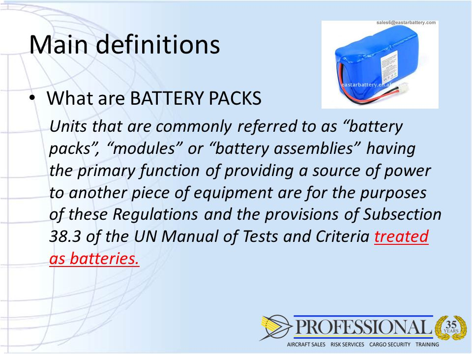 Guidelines for handling Lithium Batteries as Air Cargo