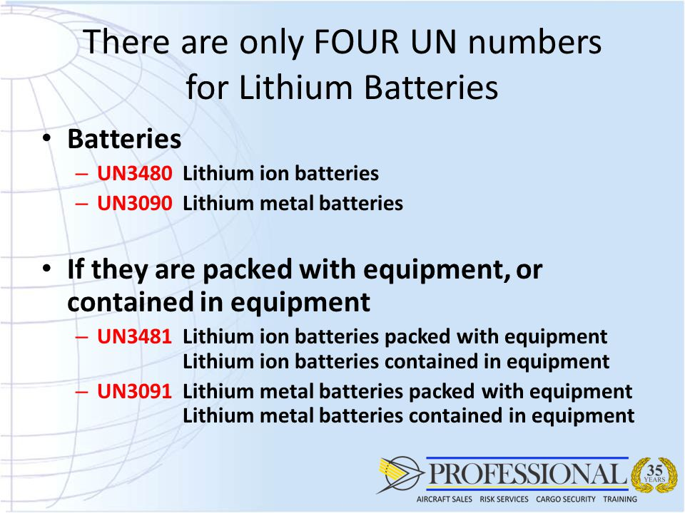 There are only FOUR UN numbers for Lithium Batteries
