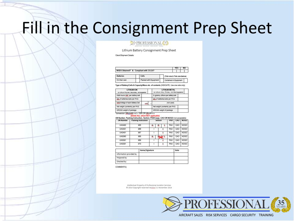 Fill in the Consignment Prep Sheet