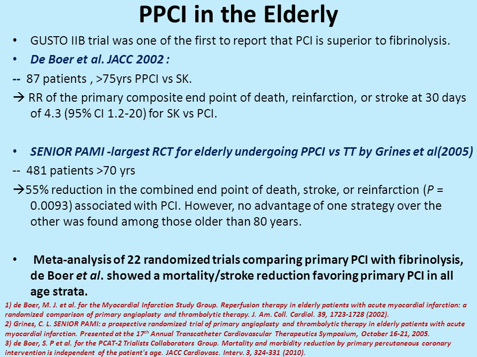PPCI in the Elderly GUSTO IIB trial was one of the first to report that PCI is superior to fibrinolysis.