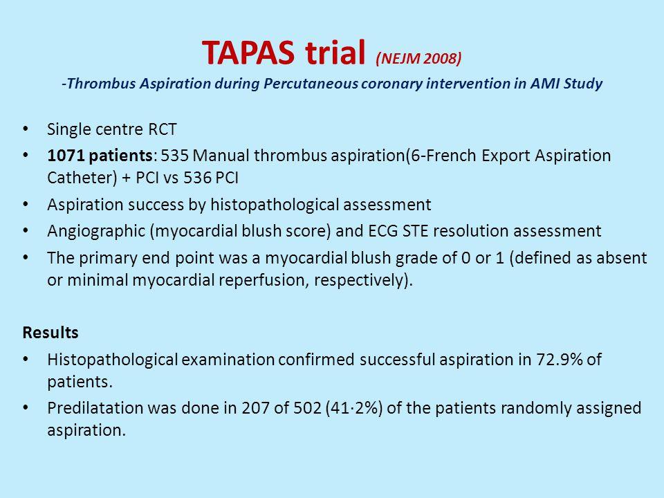 TAPAS trial (NEJM 2008) -Thrombus Aspiration during Percutaneous coronary intervention in AMI Study